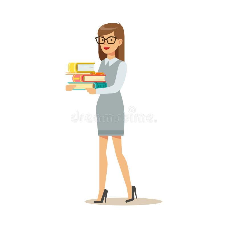 Kvinna i exponeringsglas som bär högen AV böcker som ler den Person In The Library Vector illustrationen vektor illustrationer