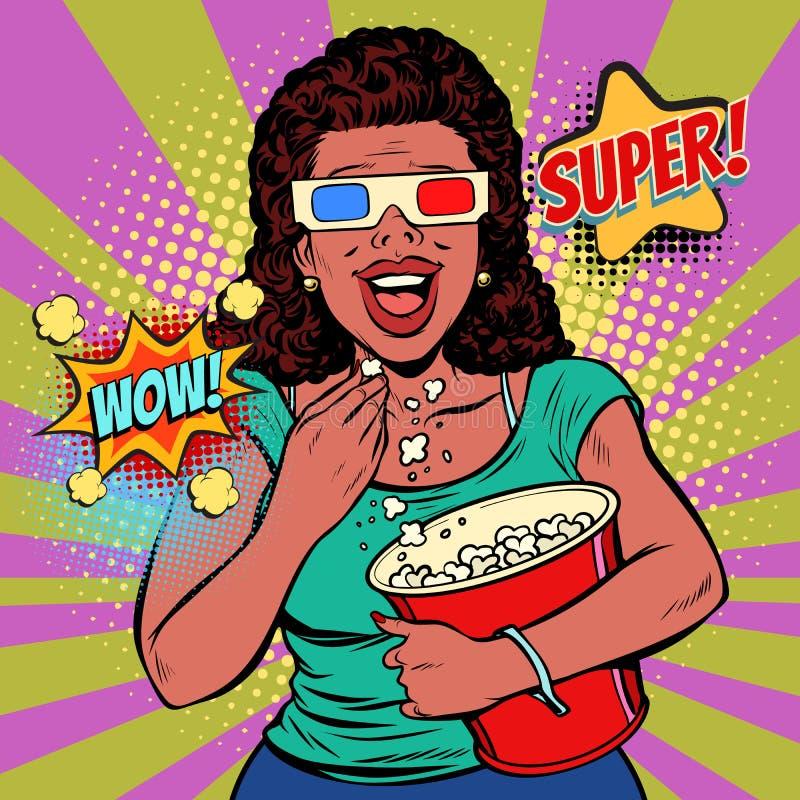 Kvinna i exponeringsglas som 3D håller ögonen på en film, ler och äter popcorn vektor illustrationer
