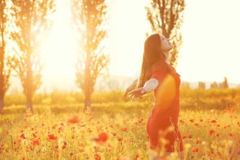 Kvinna i fält i solljus arkivfoto