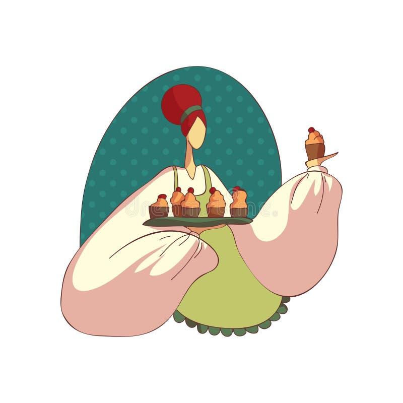 Kvinna i förkläde med muffin Kvinnlig kock royaltyfri illustrationer