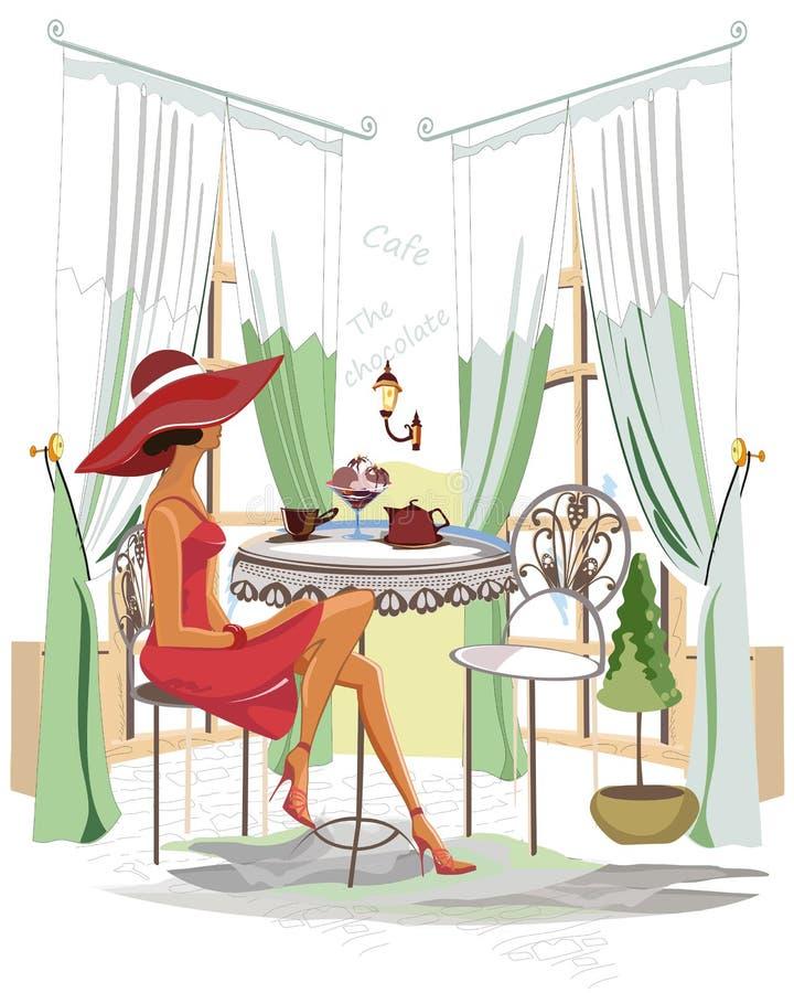 Kvinna i hatt med kaffe inom kafét stock illustrationer