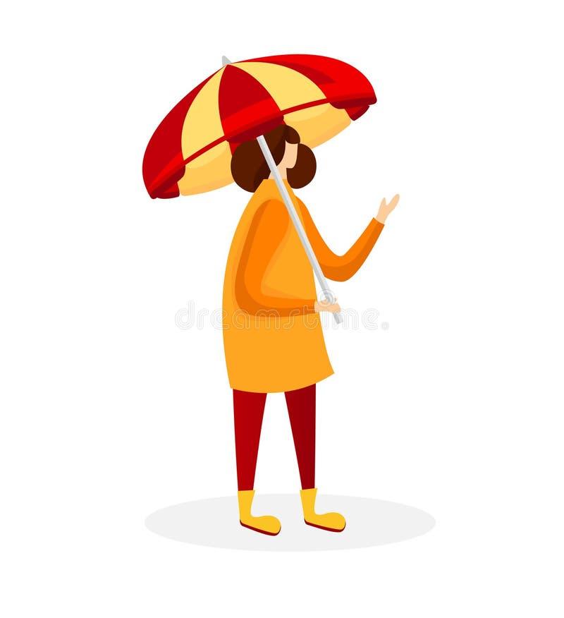Kvinna i kappan och gummistöveler som rymmer paraplyet stock illustrationer