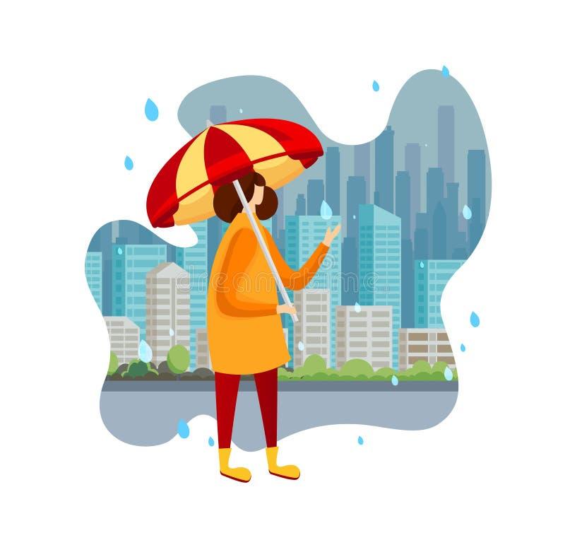 Kvinna i kappan och kängor som rymmer paraplyet på regn royaltyfri illustrationer