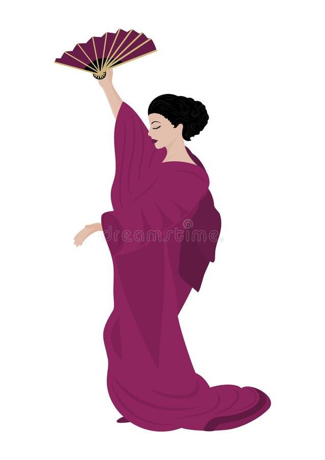 Kvinna i kimono royaltyfri illustrationer