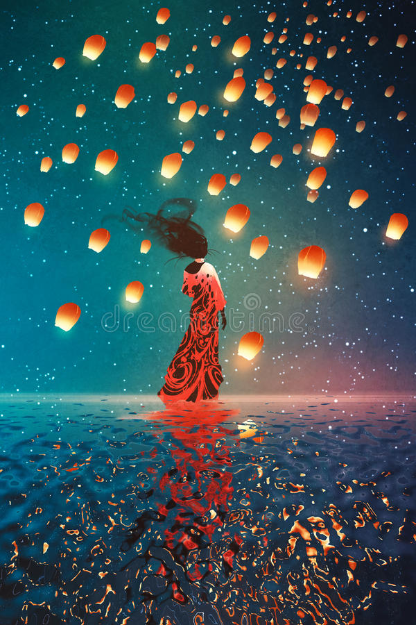 Kvinna i klänninganseende på vatten mot lyktor som svävar i en natthimmel royaltyfri illustrationer