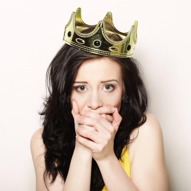 Kvinna i krona fotografering för bildbyråer
