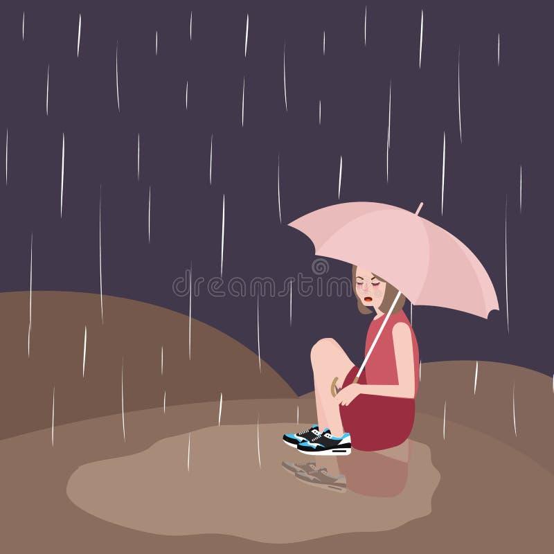 Kvinna i ledset under-mörkt himmelparaply för regn stock illustrationer