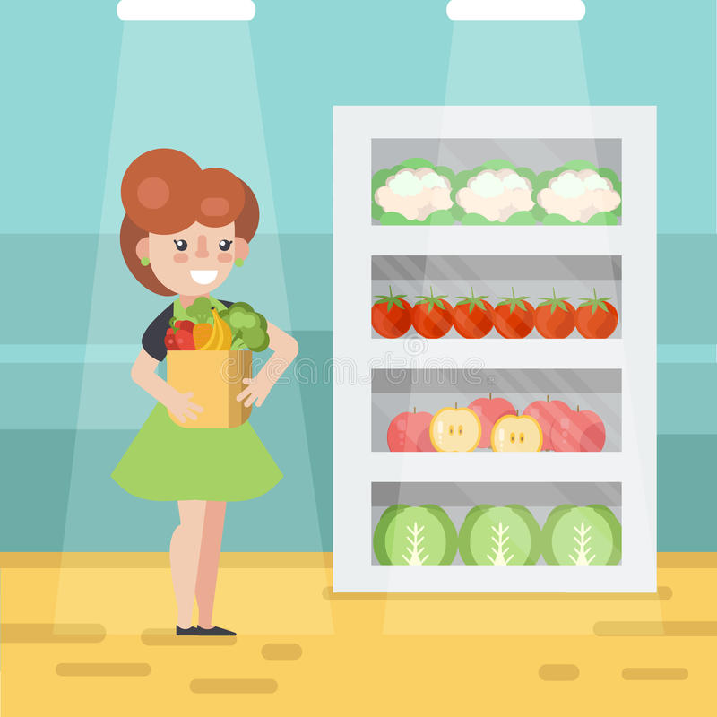 Kvinna i livsmedelsbutikvektorillustration stock illustrationer