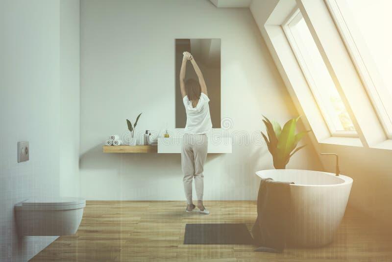 Kvinna i loftbadrum med toaletten vektor illustrationer