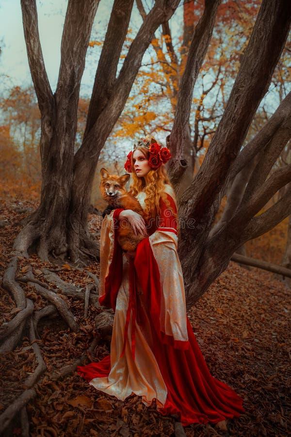 Kvinna i medeltida kläder med en räv fotografering för bildbyråer