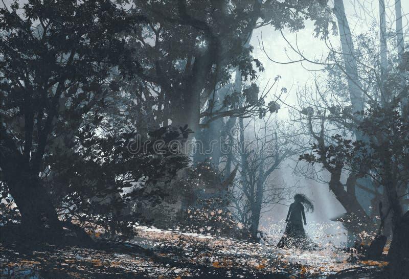 Kvinna i mystisk mörk skog royaltyfri illustrationer