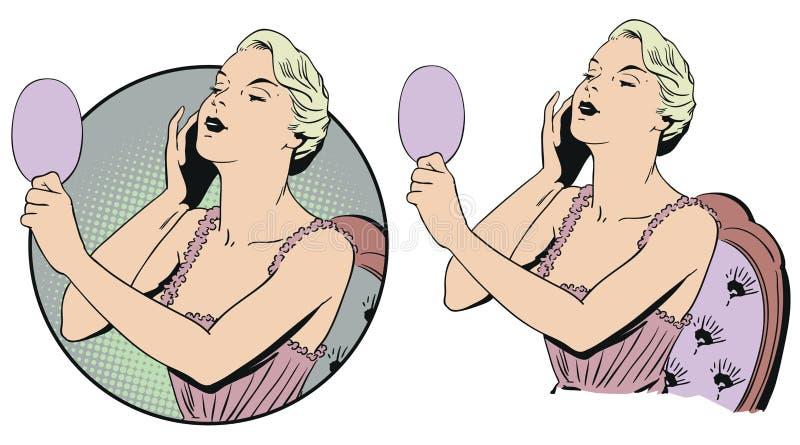 Kvinna i negligé med spegeln för illustrationorange för bakgrund ljust materiel vektor illustrationer