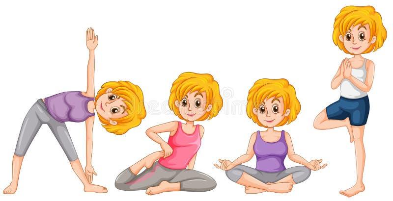 Kvinna i olik position av yoga royaltyfri illustrationer