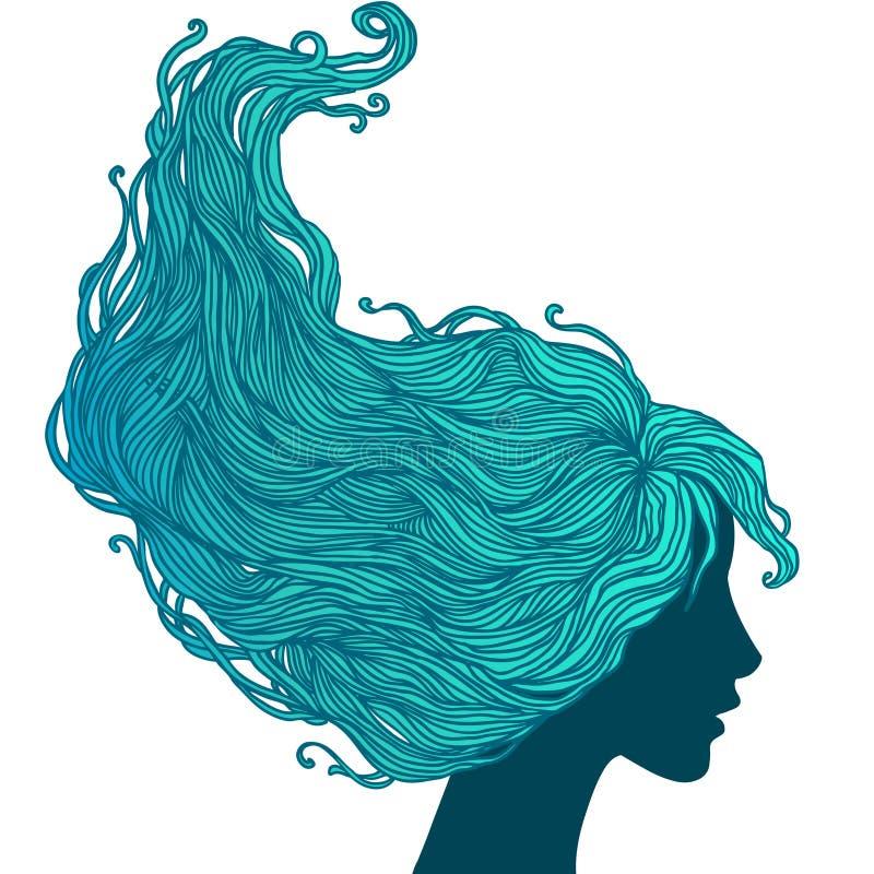 Kvinna i profilsikt med långt hår stock illustrationer