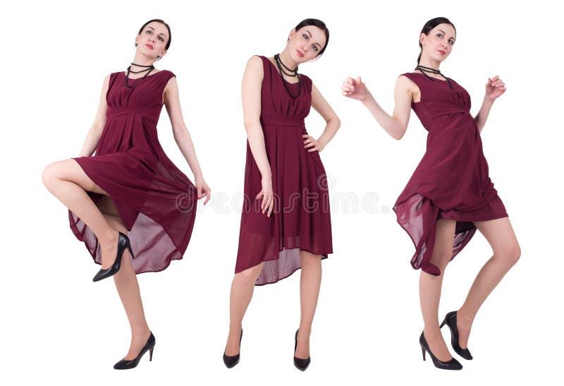 Kvinna i röd klänning royaltyfria bilder