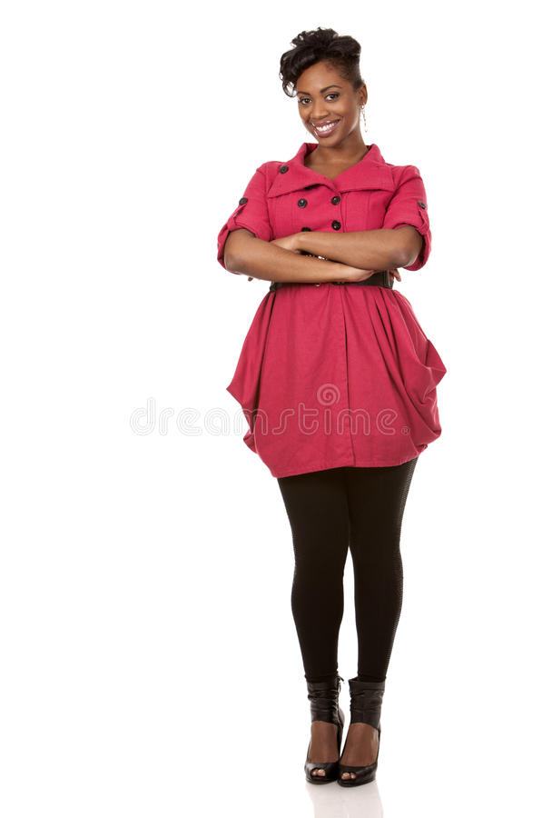 Kvinna i rött royaltyfria foton
