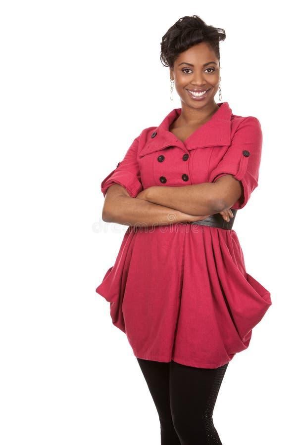 Kvinna i rött arkivbild