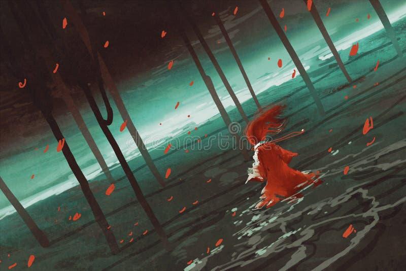 Kvinna i rött gå på träsksjön stock illustrationer