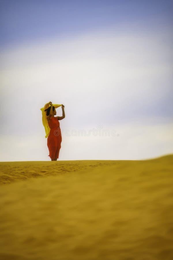 Kvinna i rött klänninganseende i öknen royaltyfri bild