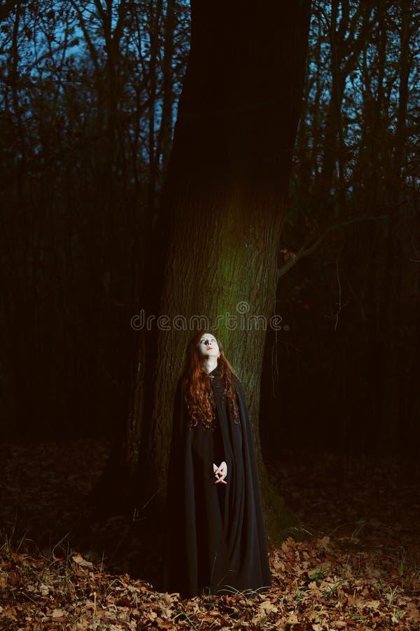 Kvinna i skogen på natten royaltyfri foto