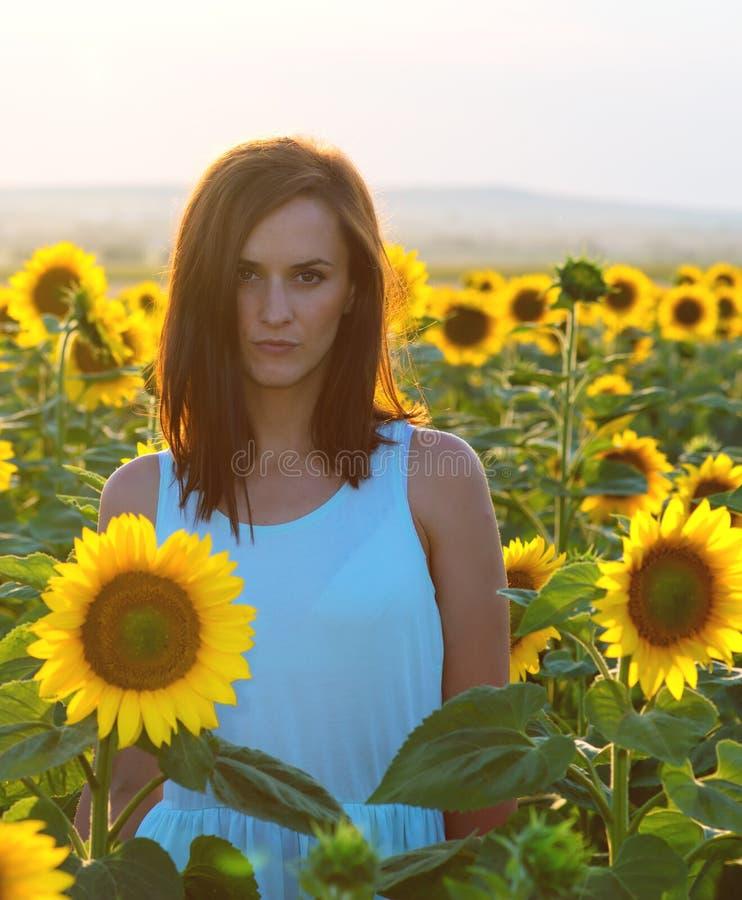 Kvinna i solrosfält på solnedgångtid royaltyfri foto