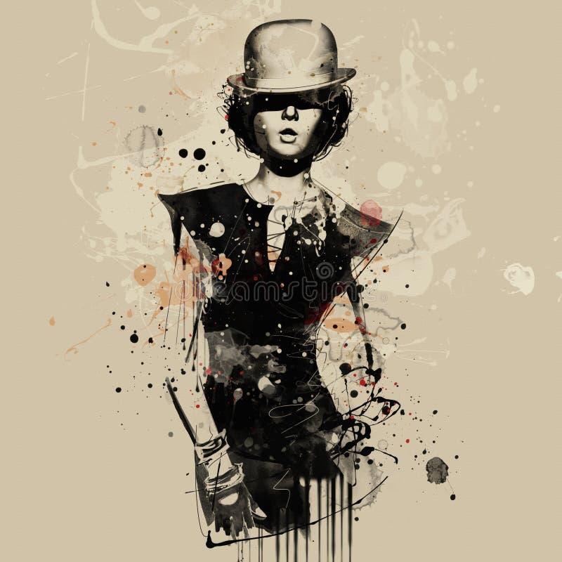 Kvinna i stil av kabareten Vattenfärgillustration, grungemode stock illustrationer