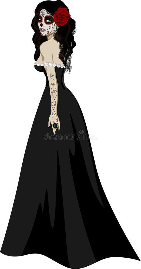 Kvinna i svart klänning vektor illustrationer