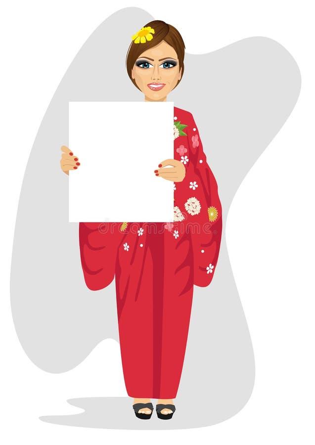 Kvinna i traditionell japansk klänning med det tomma tomma brädet vektor illustrationer