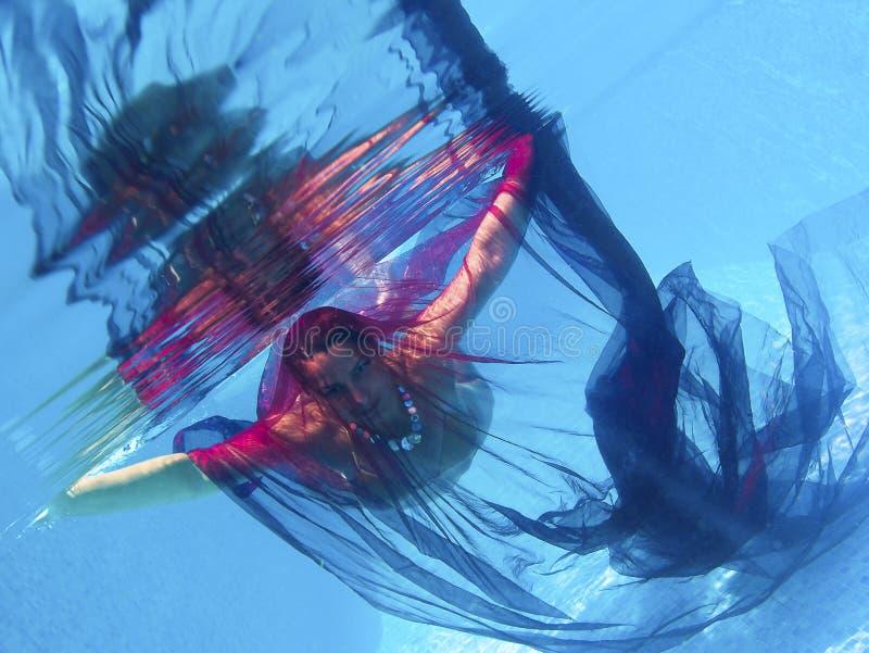Kvinna i vatten - simbassäng royaltyfri foto