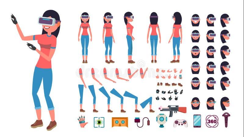 Kvinna i virtuell verklighethörlurar med mikrofonvektor livlig teckenskapelseuppsättning exponeringsglas för 3D VR Full längd, fr stock illustrationer
