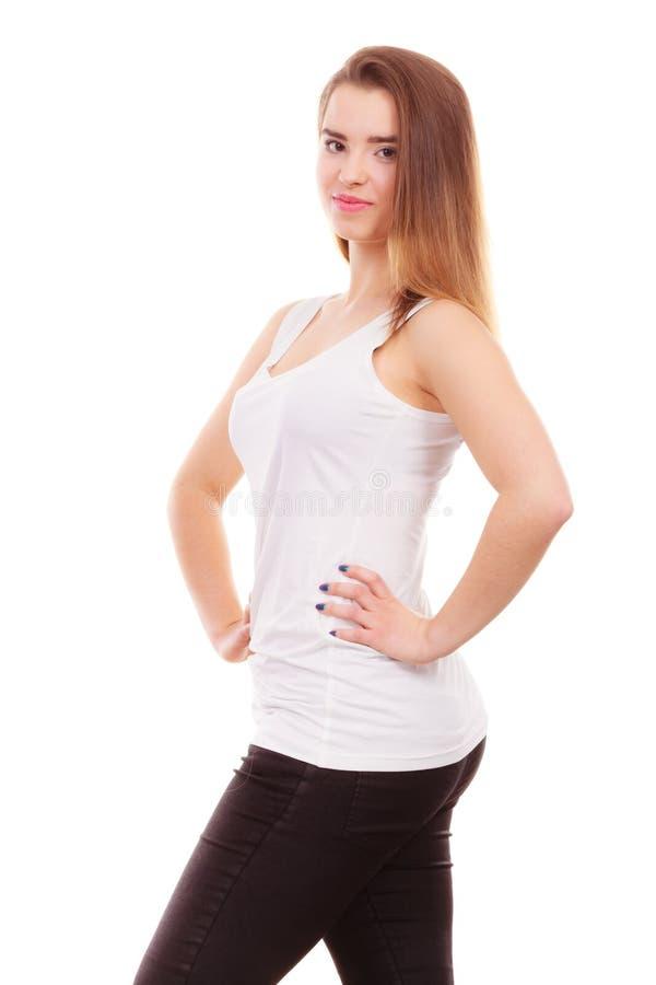 Kvinna i vit ärmlös tröja och damasker arkivbilder
