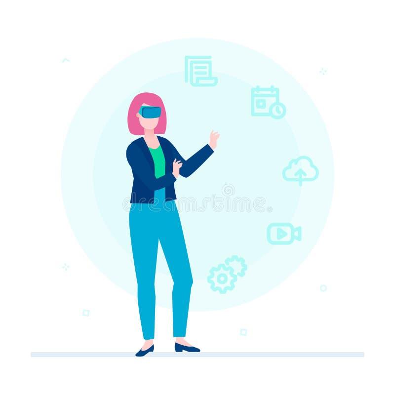 Kvinna i VR-exponeringsglas - färgrik illustration för plan designstil stock illustrationer