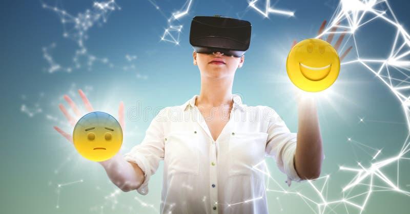 Kvinna i VR med nätverket och emojis med signalljus mot bakgrund för blå gräsplan royaltyfri illustrationer