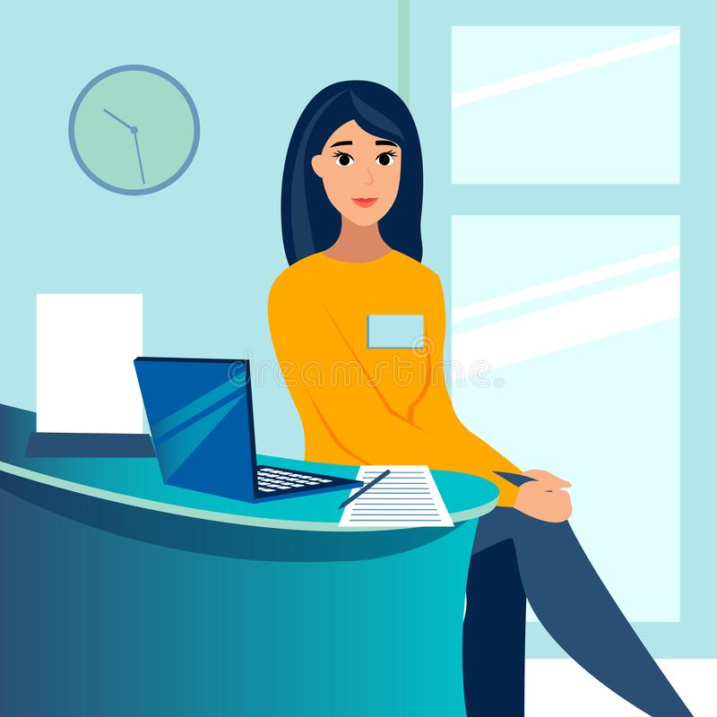 Kvinna kontorsanställd, sekreterare, administratör i arbetsplatsen I minimalist stil Plan vektor f?r tecknad film stock illustrationer