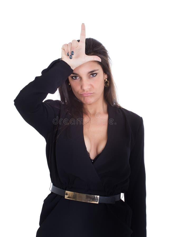 Kvinna l för förlorare royaltyfri foto