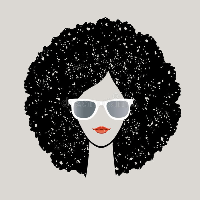 Kvinna med afro hår royaltyfri illustrationer