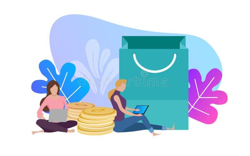 Kvinna med bärbar dator- och shoppingpåsar, begreppsmässig vektor för online-kommersbetalning tillfälligt tyck om hemifrån bladve royaltyfri illustrationer