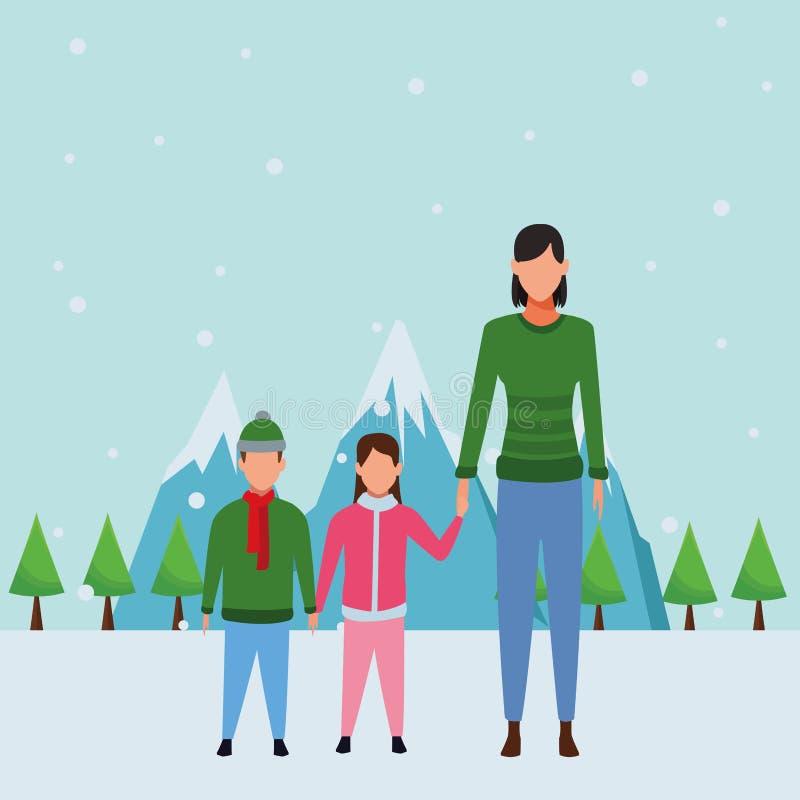 Kvinna med barn vektor illustrationer