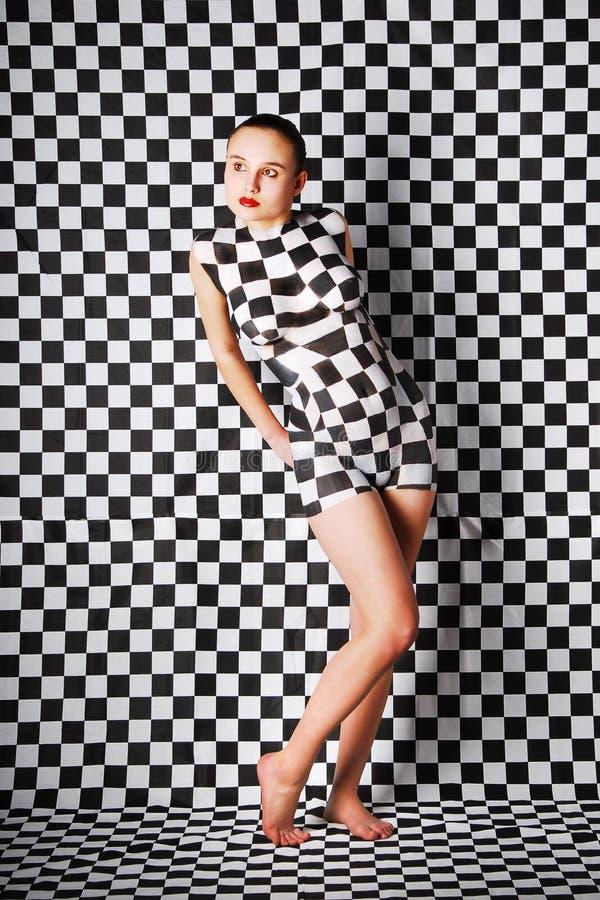 Kvinna med begreppskroppkonst royaltyfria foton