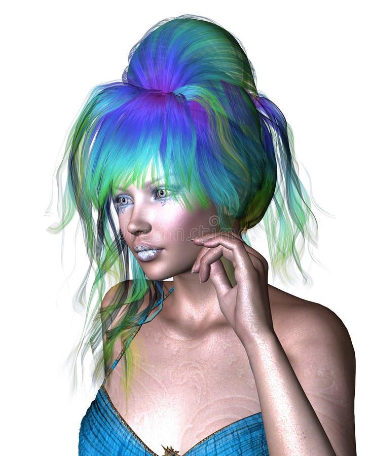 Kvinna med blått hår royaltyfri illustrationer