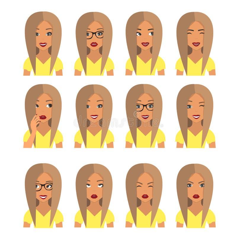 Kvinna med blont hår och sinnesrörelser Användaresymboler Avatarvektorillustration royaltyfri illustrationer