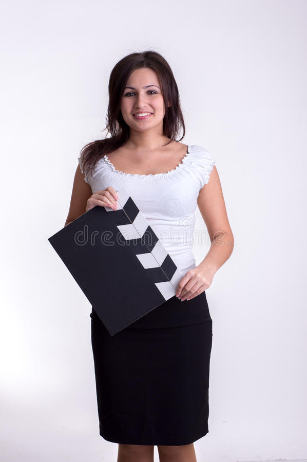 Kvinna med clapboarden royaltyfria foton