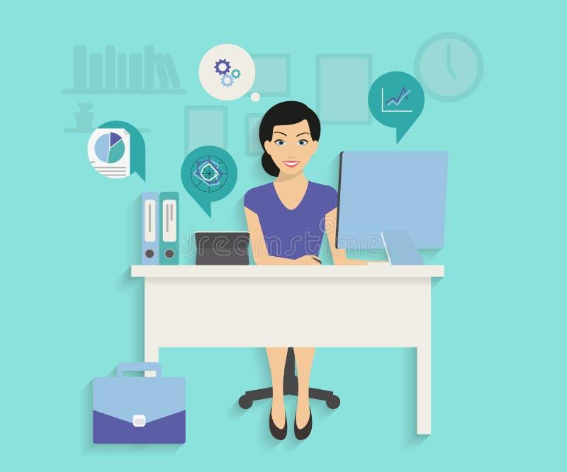 Kvinna med datoren vektor illustrationer
