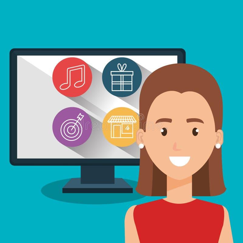 Kvinna med datorteckenet stock illustrationer