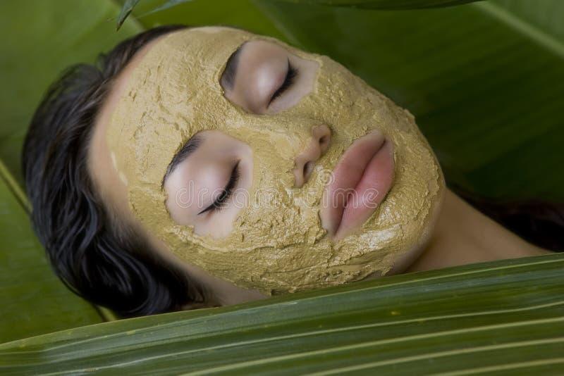 Kvinna med den ansikts- maskeringen för grön växt- lera, skönhetbrunnsort royaltyfri foto