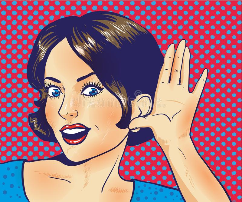 Kvinna med den förvånade framsidan som lyssnar till en viskning Vektorillustration i retro komisk stil för popkonst vektor illustrationer