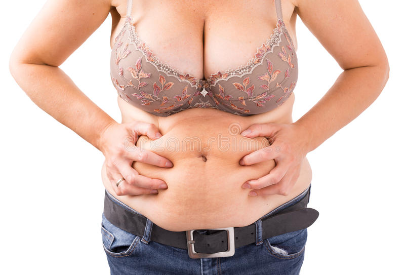 Kvinna med den feta buken fotografering för bildbyråer