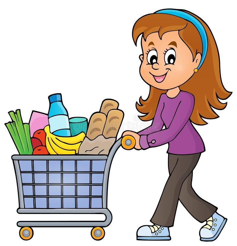 Kvinna med den fulla shoppingvagnen vektor illustrationer