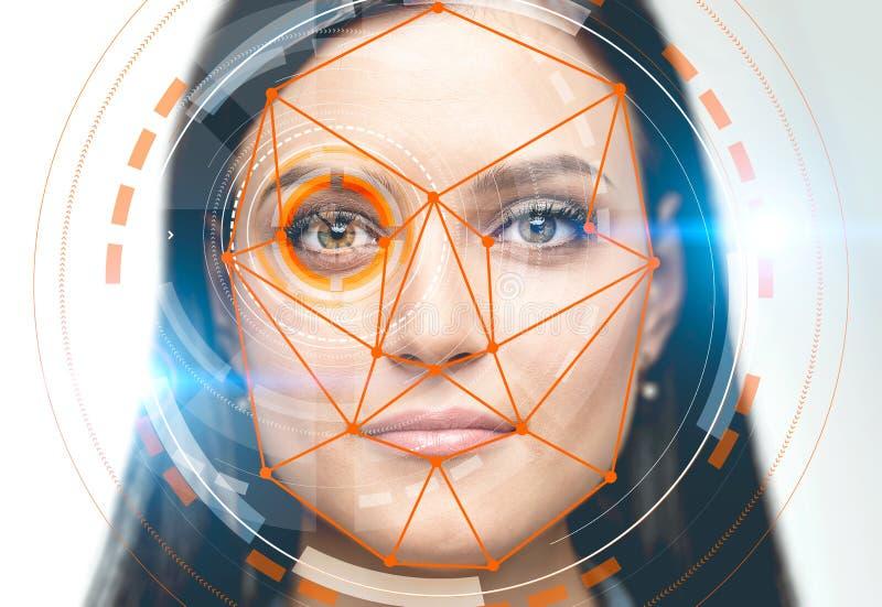 Kvinna med den orange manöverenheten för framsidaerkännande arkivbilder