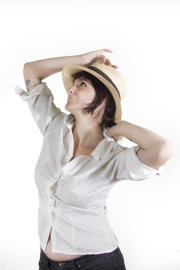 Kvinna med den Panama hatten royaltyfri bild